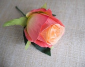 Coral rose silk wedding b...