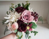 Rustic dusky pink, burgundy and cream wedding bouquet.