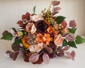 Autumn, peach, burnt orange and burgundy silk wedding bouquet.