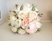 Elegant ivory and blush pink peony silk wedding bouquet.