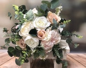 Blush, champagne and ivory wedding bouquet with eucalyptus