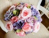Summer pink, purple and lilac silk wedding bouquet.