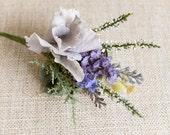 Rustic lavender silk wedding buttonhole / boutonniere