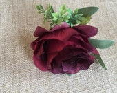 Burgundy rose silk wedding buttonhole / boutonniere.