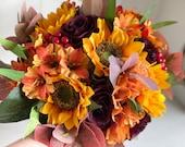 Autumn sunflowers silk wedding bouquet