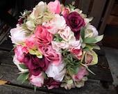 Natural pink, burgundy and green silk wedding bouquet.