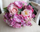 Pale pink and dark pink silk wedding bouquet.