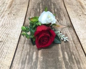 Red and ivory double rose silk wedding buttonhole / boutonniere.