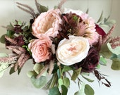 Rustic, blush, dusky pink and burgundy silk wedding bouquet.