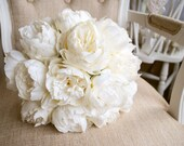 Luxury ivory peony wedding bouquet.