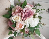 Natural dusky pink wedding bouquet. Silk wedding flowers. Country garden wedding.