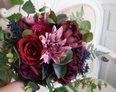 Rustic dark pink, navy blue and burgundy wedding bouquet. Boho wedding flowers