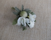 White and green silk wedding buttonhole / boutonniere.
