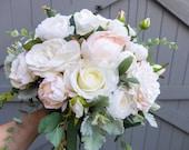 Blush pink peony wedding bouquet.