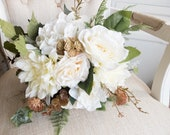 Rustic cream and ivory silk wedding bouquet.