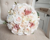 Luxury blush, champagne and dusky pink silk wedding bouquet