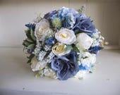 Dusky blue silk wedding b...