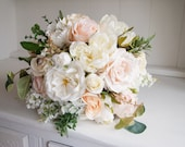 Elegant ivory, cream and pale peach silk wedding bouquet. Natural silk bridal bouquet.