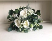 Natural white and ivory silk wedding bouquet with eucalyptus greenery. *Updated design*