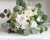 Mixed ivory and green silk wedding bouquet.