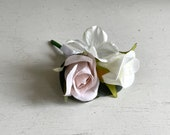 Barely pink and ivory silk wedding buttonhole / boutonniere.