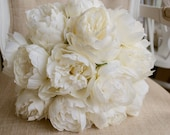 Luxury ivory peony wedding bouquet.