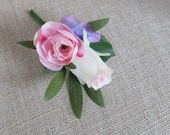 Pastel pink silk wedding buttonhole / boutonniere.