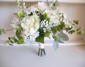 White, ivory and green silk wedding bouquet.