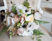 Rustic cream and taupe silk wedding bouquet.