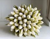 Tulip silk wedding bouquet.