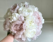 Barely pink and white peonies silk wedding bouquet.