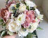 Dusky pink and white silk wedding bouquet.