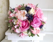 Pink and navy blue peony silk wedding bouquet.