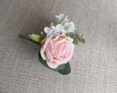 Pale pink rose and white lilac silk wedding buttonhole / boutonniere.