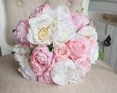 Elegant pink and white silk wedding bouquet. Artificial rose and peony bouquet.