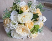 Yellow, white and green silk wedding bouquet. Yellow wedding flowers