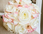 Pink and ivory rose silk wedding bouquet.