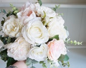 Blush pink wedding bouquet. Ivory rose and blush pink peony silk wedding bouquet. *Updated design*