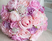 Pink, mauve and silver silk wedding bouquet. Sparkle brooch wedding bouquet.
