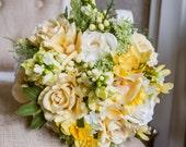 Spring yellow silk wedding bouquet.