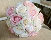 Romantic blush pink silk wedding bouquet.