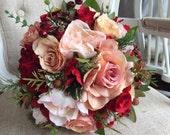 Vintage peach, blush pink and wine red silk wedding bouquet.