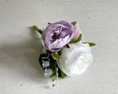 Dusty lavender and ivory silk wedding buttonhole / boutonniere. Rose and lily of the valley buttonhole