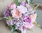 Pink and lilac silk wedding bouquet. Silk wedding flower bride bouquet