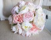 Luxury rose gold silk wedding bouquet.