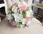 Dusky pink and ivory rose silk wedding bouquet.