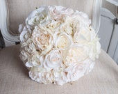 Elegant cream and champagne silk wedding bouquet. Pearl and diamante vintage bouquet