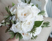 Luxury white rose and peony wedding bouquet.