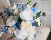 Dusky blue and ivory silk wedding bouquet.