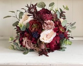 Rustic, nude, dusty rose, navy and burgundy silk wedding bouquet.